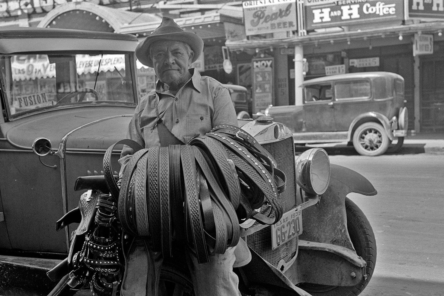 A leather goods salesman in San Antonio, Texas. 1939.