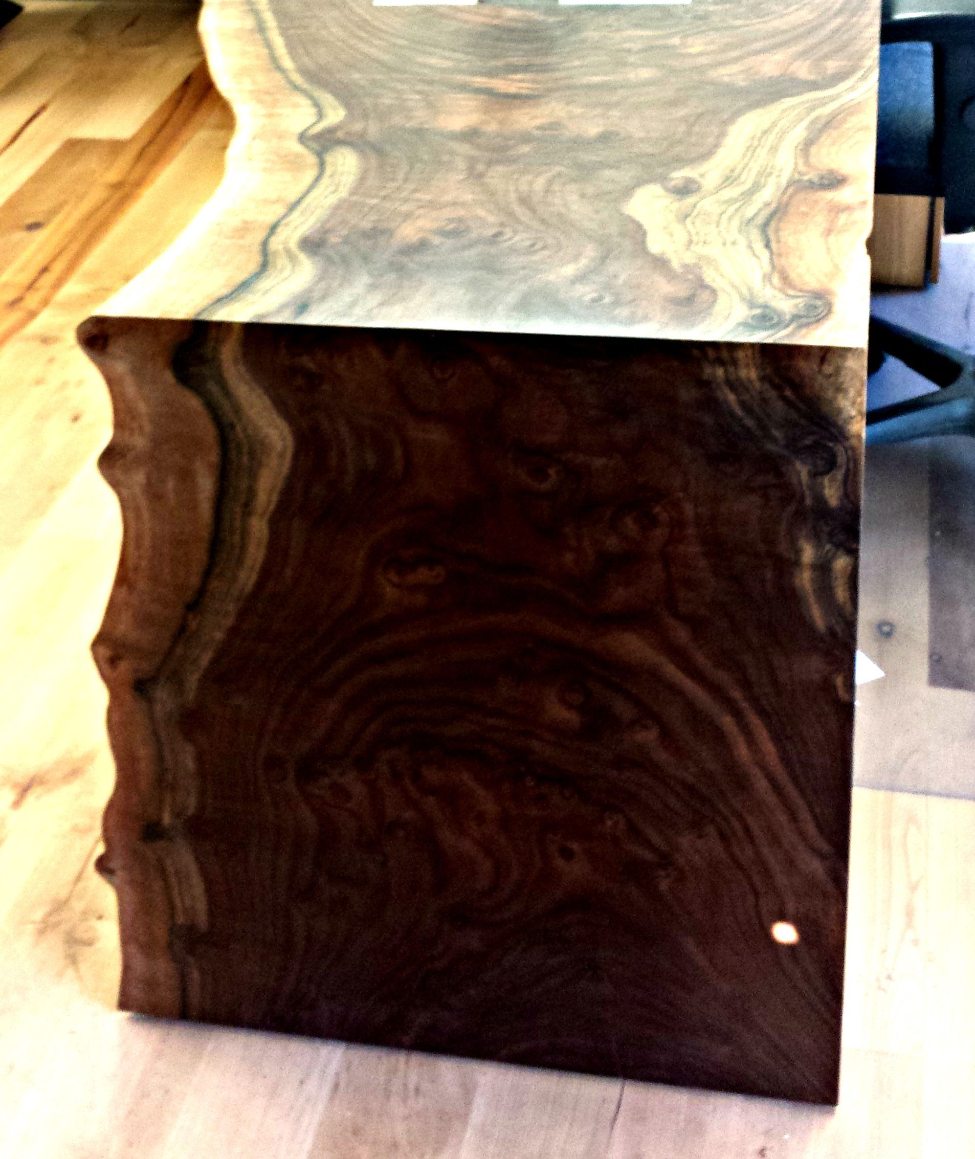 Live Edge Waterfall Desk Western Walnut Designed and Built for