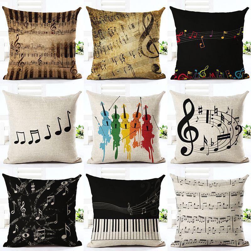 Serie music note impreso de algod n de lino square 45x45 for Articulos de decoracion hogar
