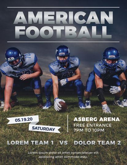 Football Flyer Template Big Game Football Flyer Football Flyer