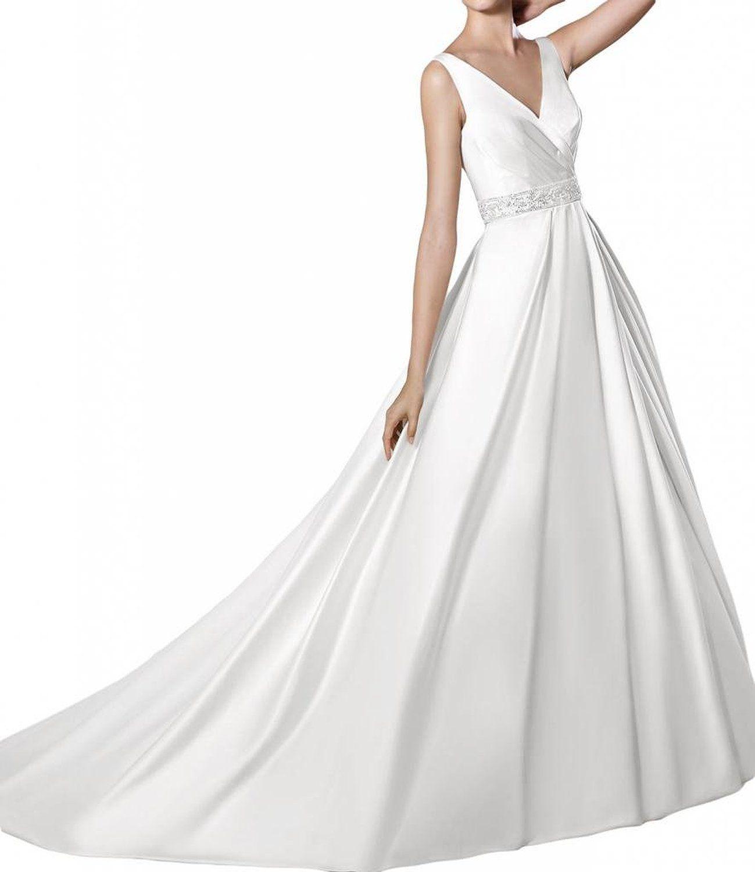 Gorgeous Bride Schlicht Traeger V-Ausschnitt Prinzessin Satin Hof ...