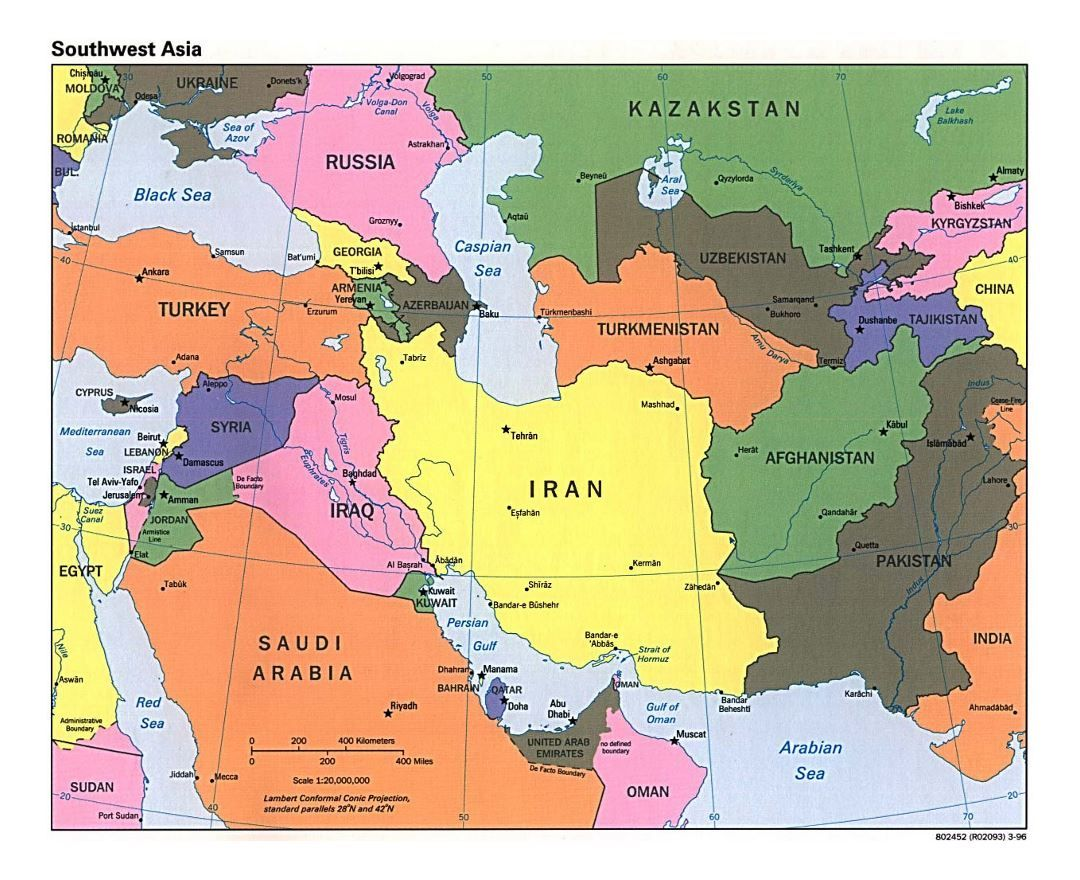 Map Of Southwest Asia South East Nations Online In Central ...
