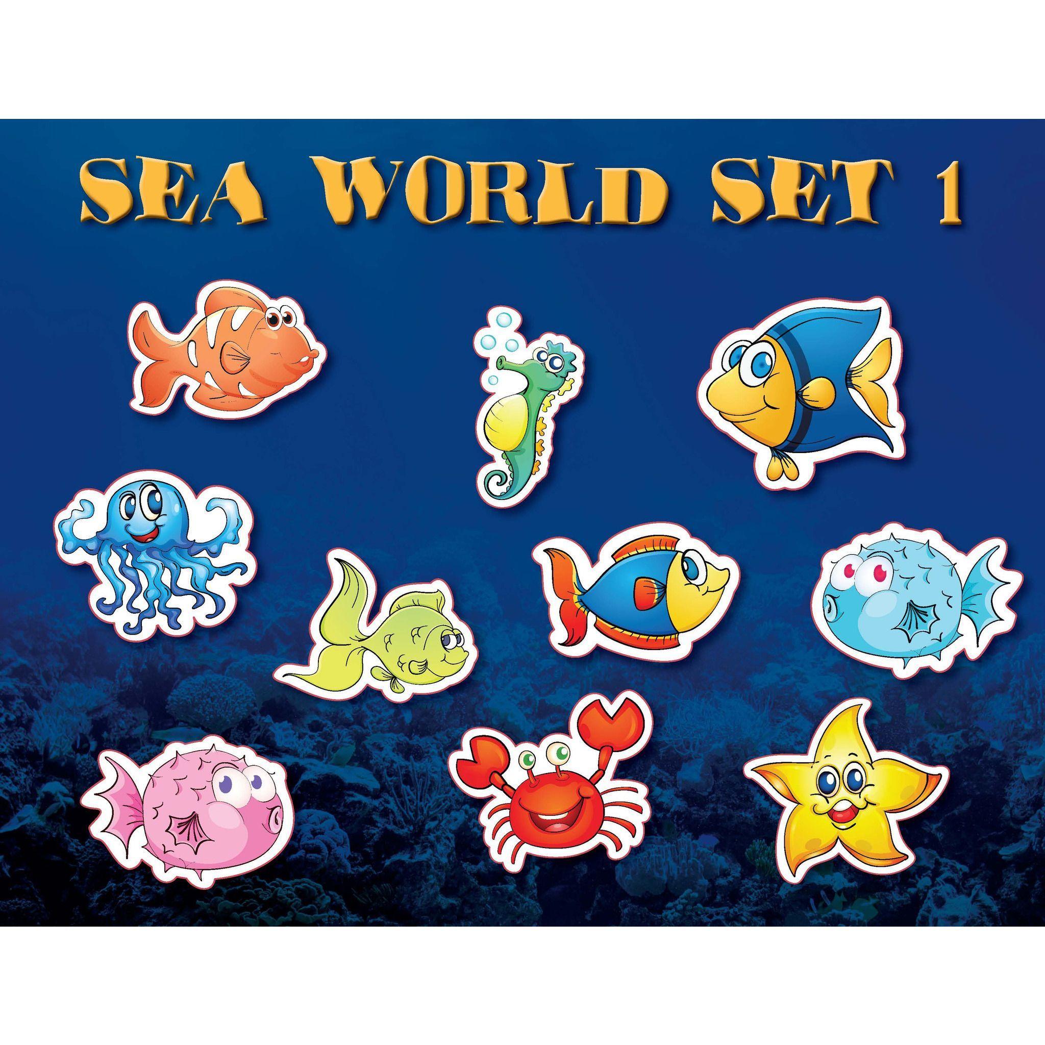 Wall 2 Wall Stickers Sea World Set 1 Fish Water Ocean Underwater Kids Wall