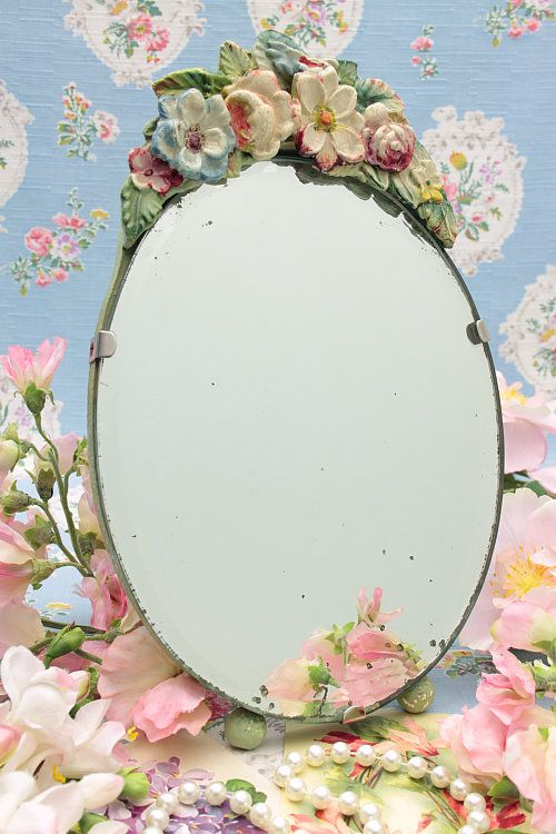 Delightful 1930s Barbola Mirror. My friend gave me one just like this for a birthday gift long ago....just love it!!