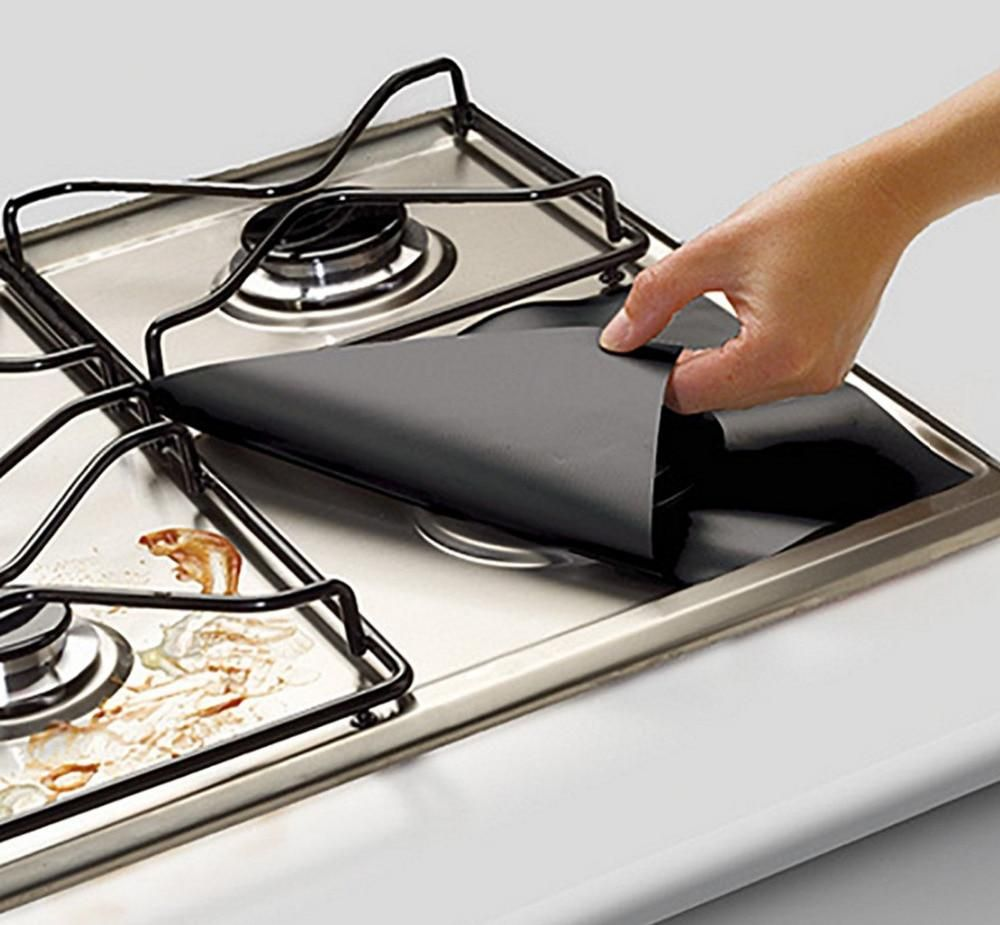 4pcs Glass Fiber Gas Stove Protectors Reusable Mat Cooker Protectors Cover Gas Stove Top Gas Stove Stove Top Burners