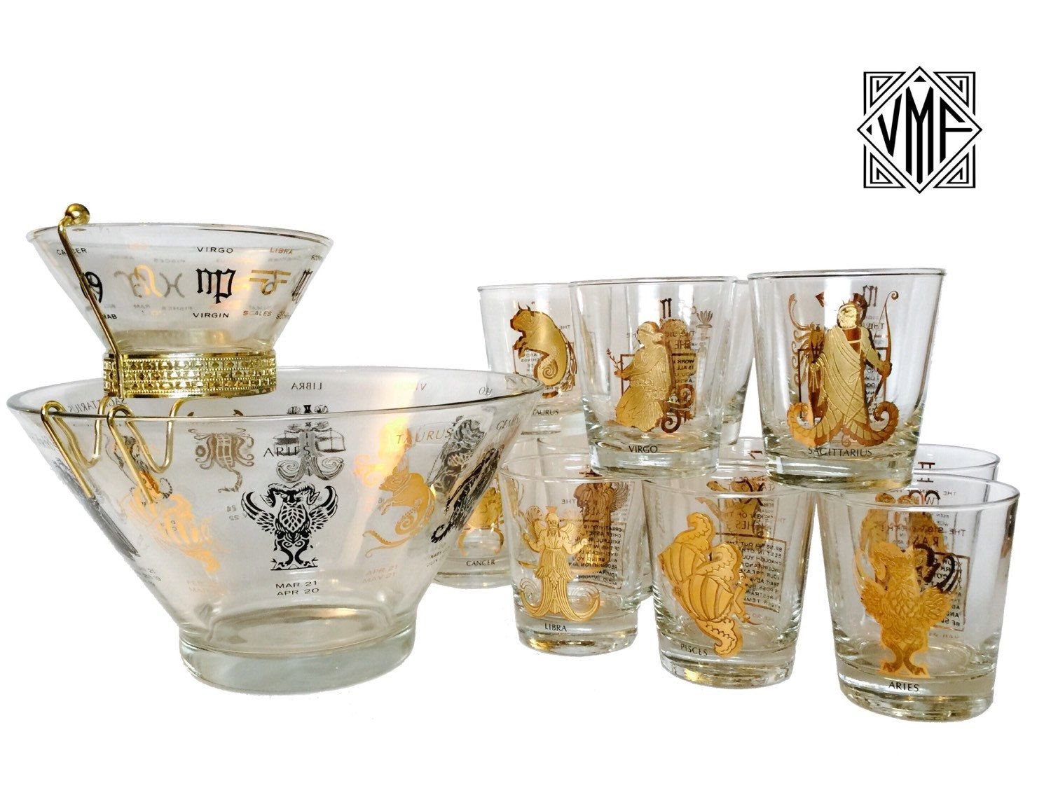 Superb MINT Vintage Mad Men Barware 1960s Anchor Hocking Zodiac Cocktail Set With  12 Rocks Glasses, Chip And Dip Set, Hollywood Regency, Astrology