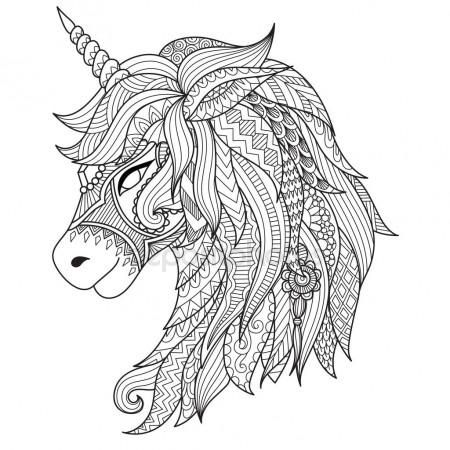 Dibujo estilo zentangle de unicornio para colorear libro, tatuaje ...
