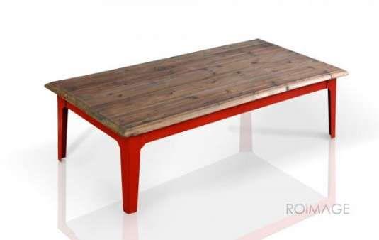 Meuble Industriel Table Basse Bois Metal Rouge Table Basse Bois Metal Table Basse Bois Table Basse