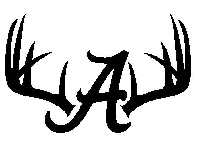Deer hunting antler skull car window decal alabama crimson tide 7x11 inch