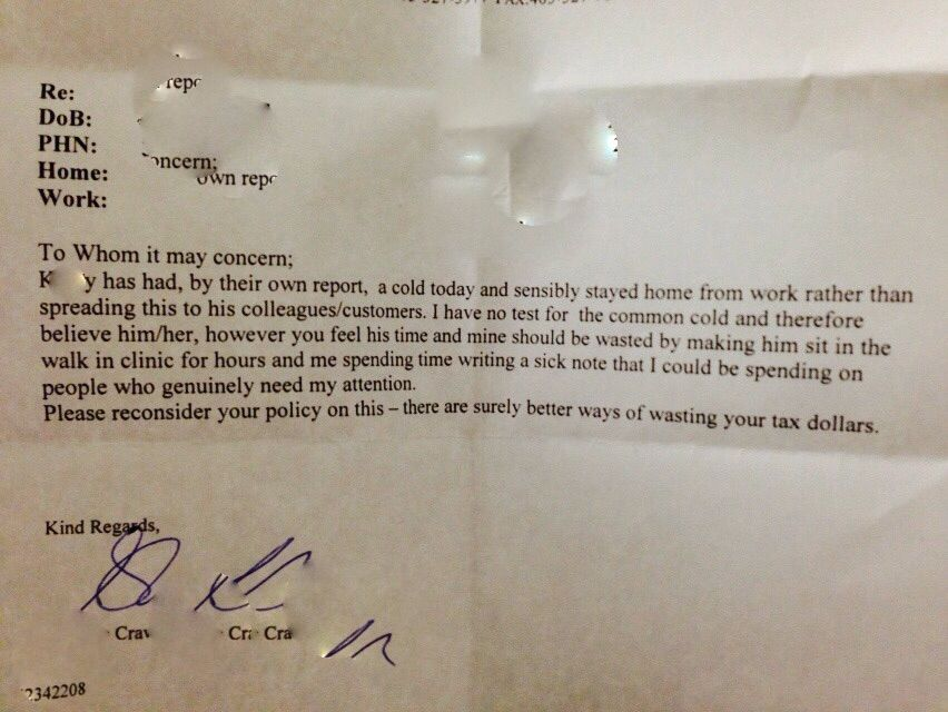 Seriously Awesome Doctor Shuts Down Boss Who Requires A Note For - return to work note