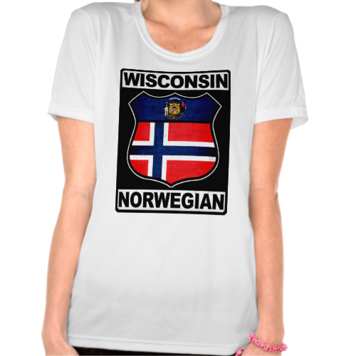#Wisconsin Norwegian American Women's Tee Shirt. To see this design on a range of other products, please visit my store: www.zazzle.com/celticana*/ #NorwegianAmerican #Norway