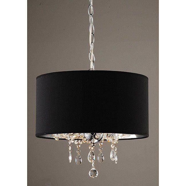 Indoor 3 light black pendant chandelier lights pinterest add some fashion and flair to your home with this elegant pendant chandelier with its black and chrome shade surrounding three dangling crystal balls mozeypictures Image collections
