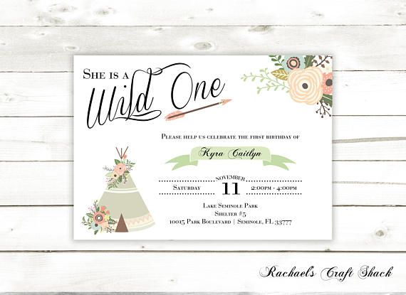 Wild One Digital First Birthday Invitation Printable Birthday - Digital first birthday invitation