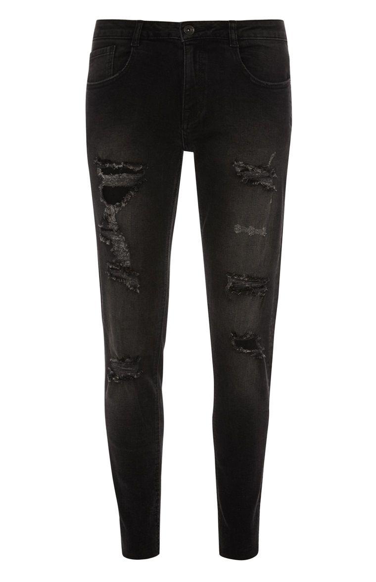 Primark - Schwarze Skinny-Jeans im Used-Look