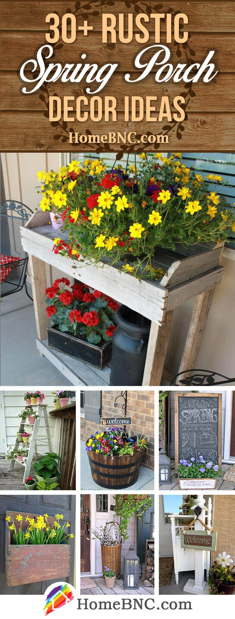 30+ Best Rustic Spring Porch Decor Ideas and Designs for 2019 #rusticporchideas