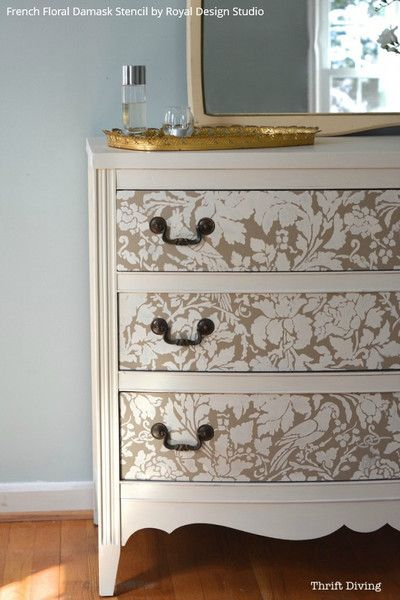 DIY Tutorial  Paint and Stencil a Pretty Dresser is 10 Easy Steps