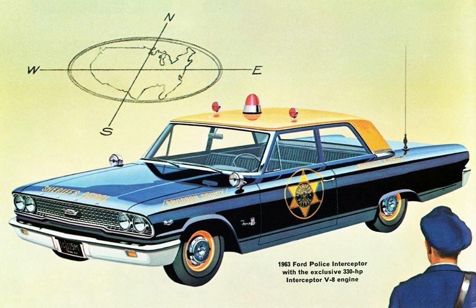 1963 Ford Police Interceptor With The Exclusive 330 Hp Interceptor V 8 Engine Police Cars Ford Police Old Police Cars