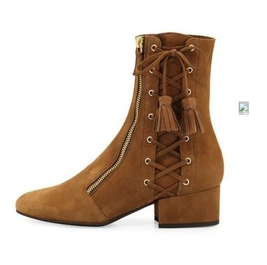 98.00$  Watch more here - http://aiy6n.worlditems.win/all/product.php?id=32787665934 - High Quality Women Ankle Boots Cross-tied With Tassel Boots Sexy Thick Heel Round Toe Zapatos Mujer Shoes Free Shipping
