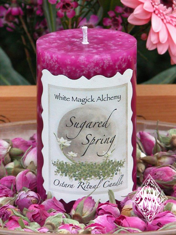 White Magick Alchemy - Sugared Spring Ostara Candle 2x3 Pillar . New Beginnings, Fertility and the Coming of Spring, $9.95 (http://www.whitemagickalchemy.com/sugared-spring-ostara-candle-2x3-pillar-new-beginnings-fertility-and-the-coming-of-spring/)