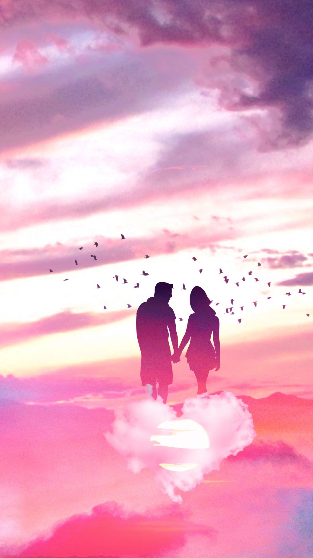 1080x1920 Couple Love Sky Clouds Fantasy Wallpaper Cool Backgrounds Wallpaper Galaxy Pictures