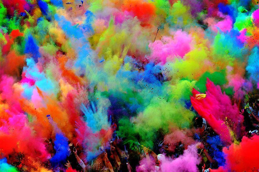 color powder fight color Holi festival of colours