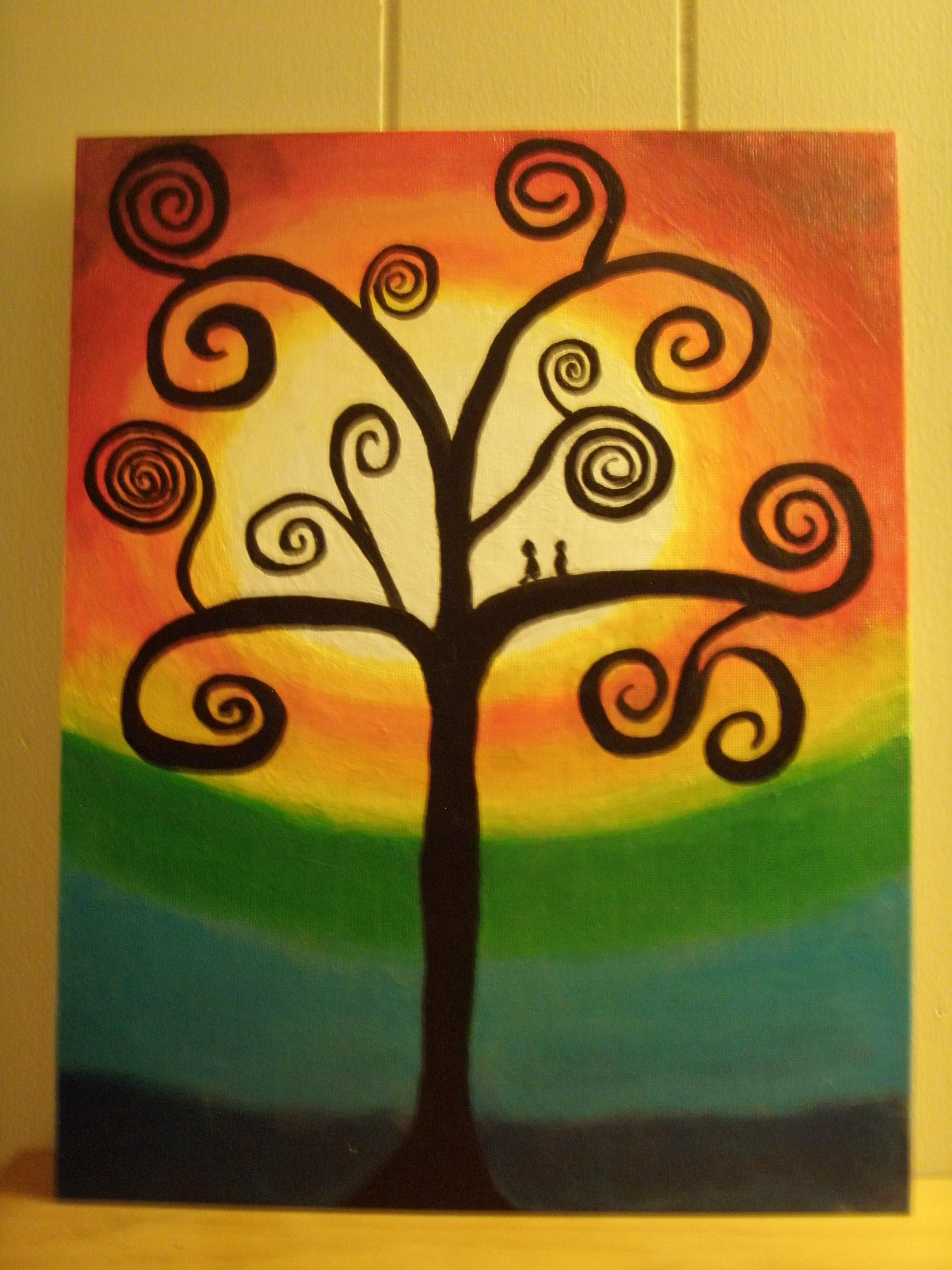 1st acrylic painting .... Swirly tree w. pair of Love birds sitting in tree
