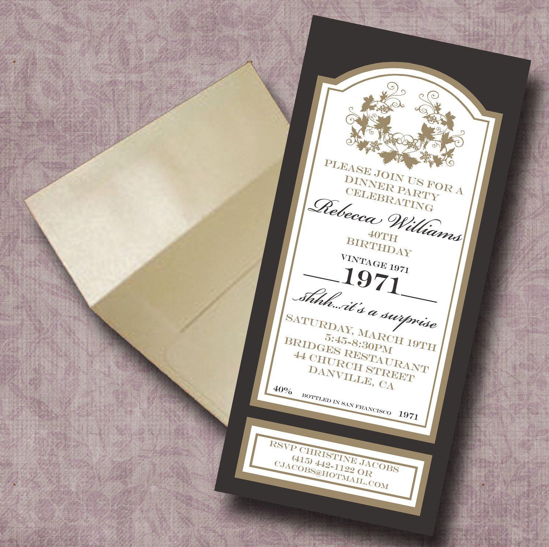 Wine bottle label invitation | Wine | Pinterest | Wine bottle labels ...