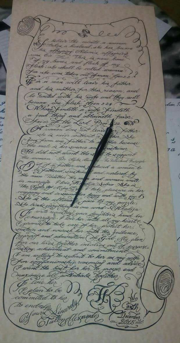 Scroll requested by Taton to Khadija to ask her parents for her hand in marriage #triniscribe #calligraphycurves at play