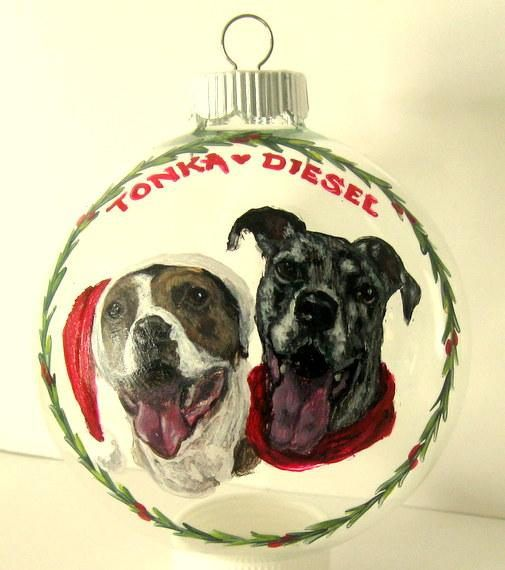 Pitbull Christmas Ornament.Custom Pet Christmas Ornament Great Dane Pitbull Painting