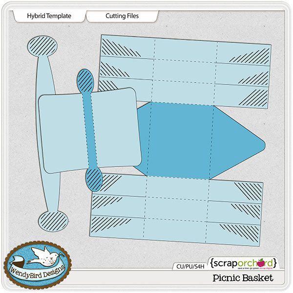 p> Picnic Basket Hybrid Template and Cutting Files by WendyBird ...
