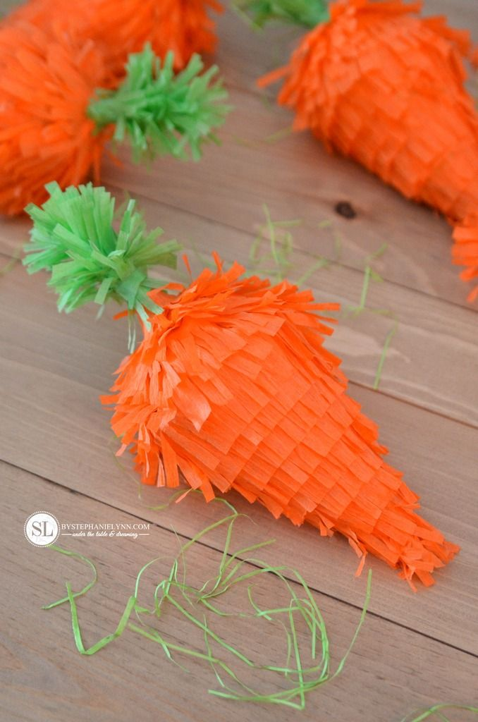 DIY Carrot Easter Piñata made from old party hats! #DisneyEaster
