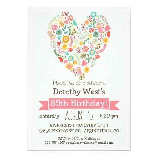85th Birthday Cute Floral Heart Party 5x7 Paper Invitation Card