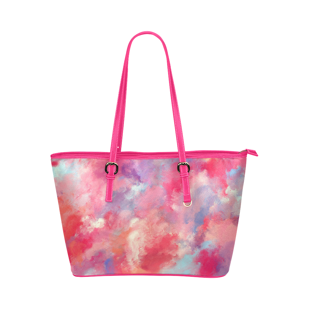 Heavens Clouds Leather Tote Bag/Large (Model 1651)