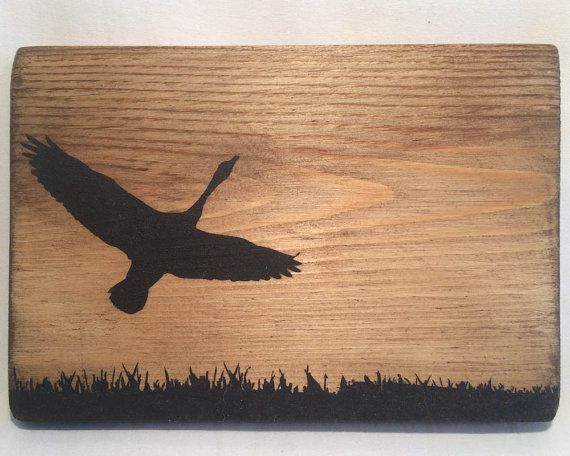 Wooden goose sillouette wall hanging art decor by BlacknotFarm