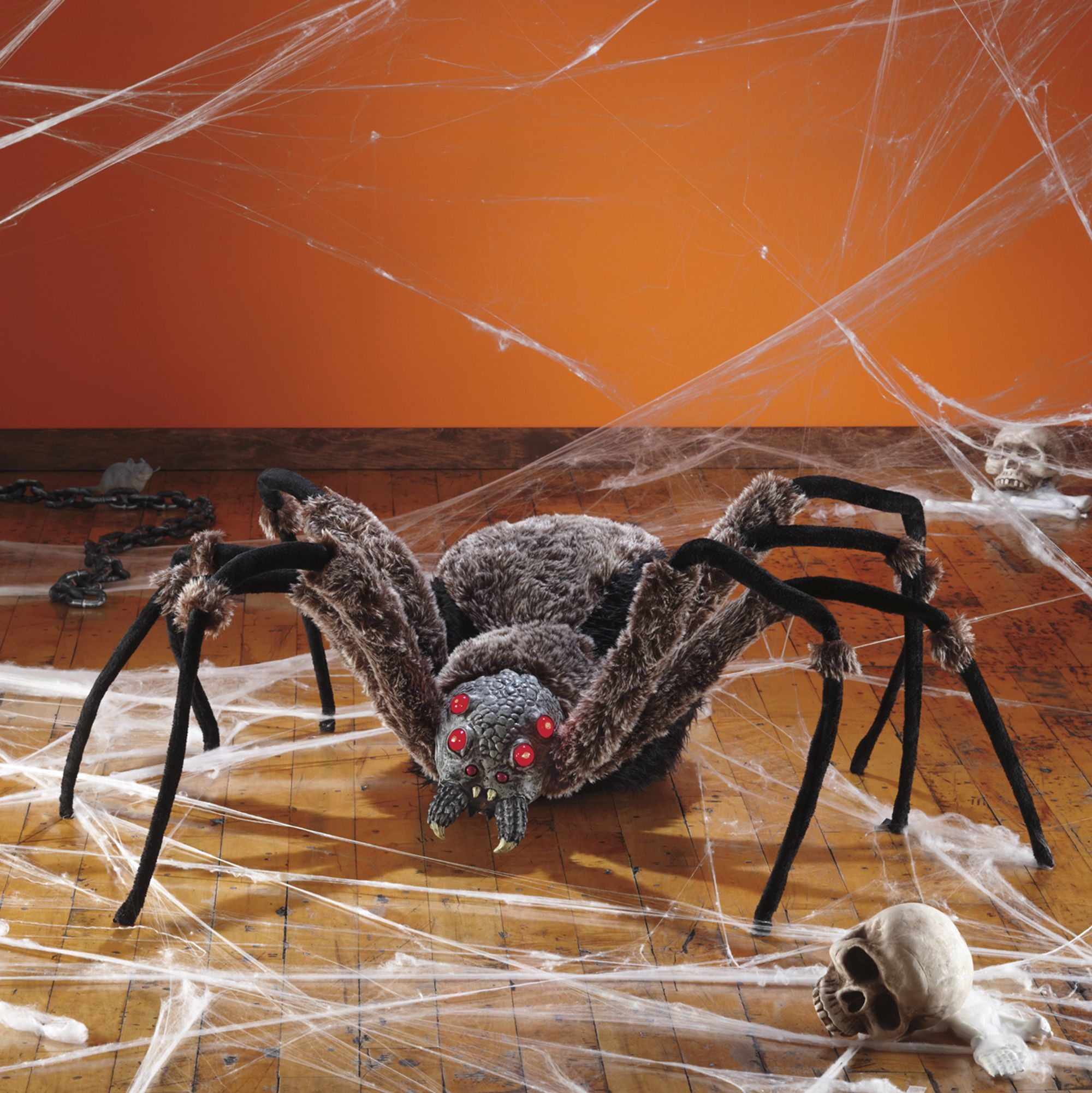 the giant spider with led eyes is a great addition to your creepy crawly dcor halloween - Giant Spider Halloween Decoration