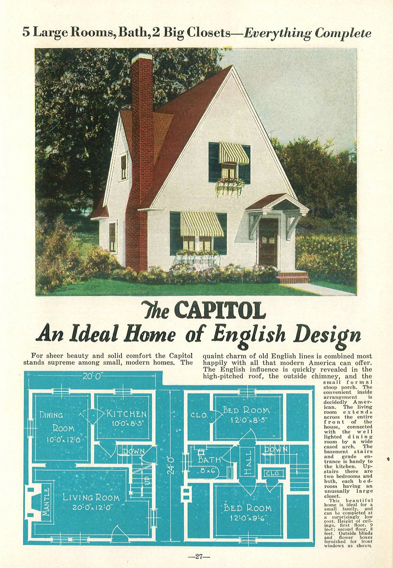 A 1 5 Story House With A Steeply Peaked Gable Roof The Text Describes It As English Although The Style Is Mo Liberty Home Vintage House Plans Storybook Homes