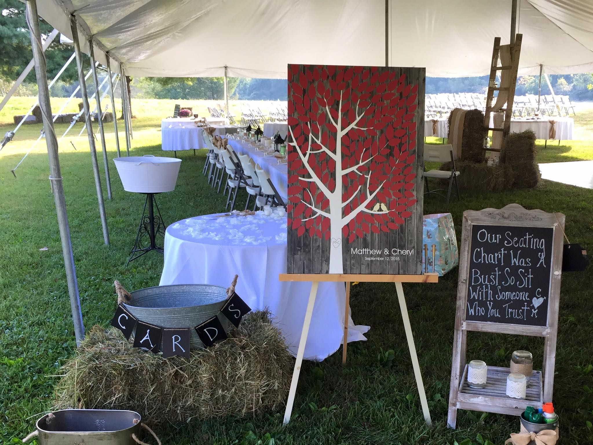 Darkwood Wedding Tree Canvas | Guest Book Alternative | Rustic Wedding | Customer Photo - Cute Display! | Wedding Color - Burgundy | peachwik.com