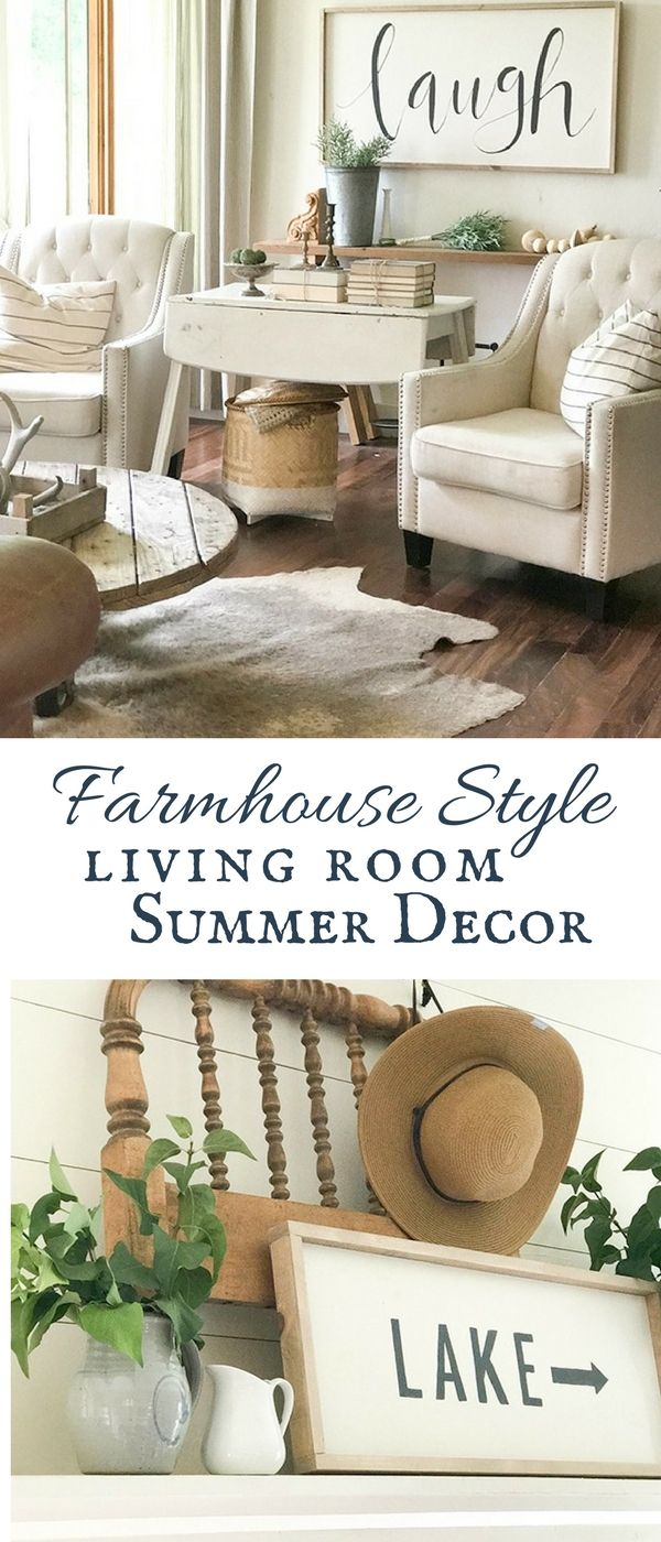 Farmhouse Living Room Summer Decor Complete With Large Signs Pottery Rustic Wood
