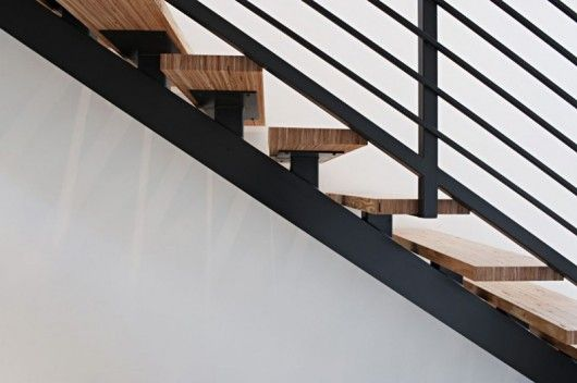 Garage Stairs? black metal + wood open stairs -stepping on ...