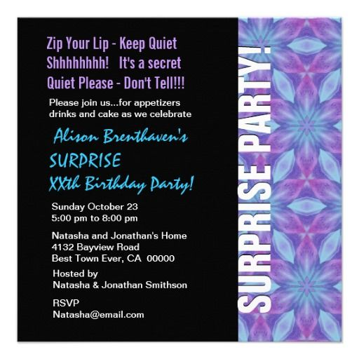 SURPRISE Year Birthday Purple and Blue Floral V055 Card Purple - best of invitation birthday party text