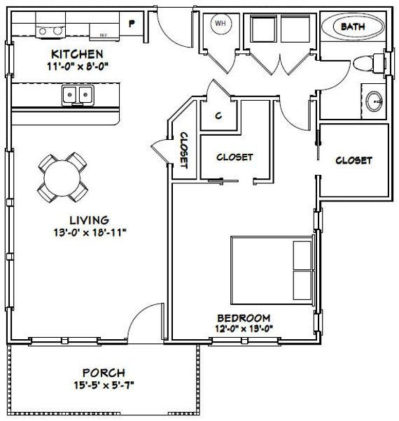 32x28 House -- 1-Bedroom 1-Bath -- 824 sq ft -- PDF Floor ...