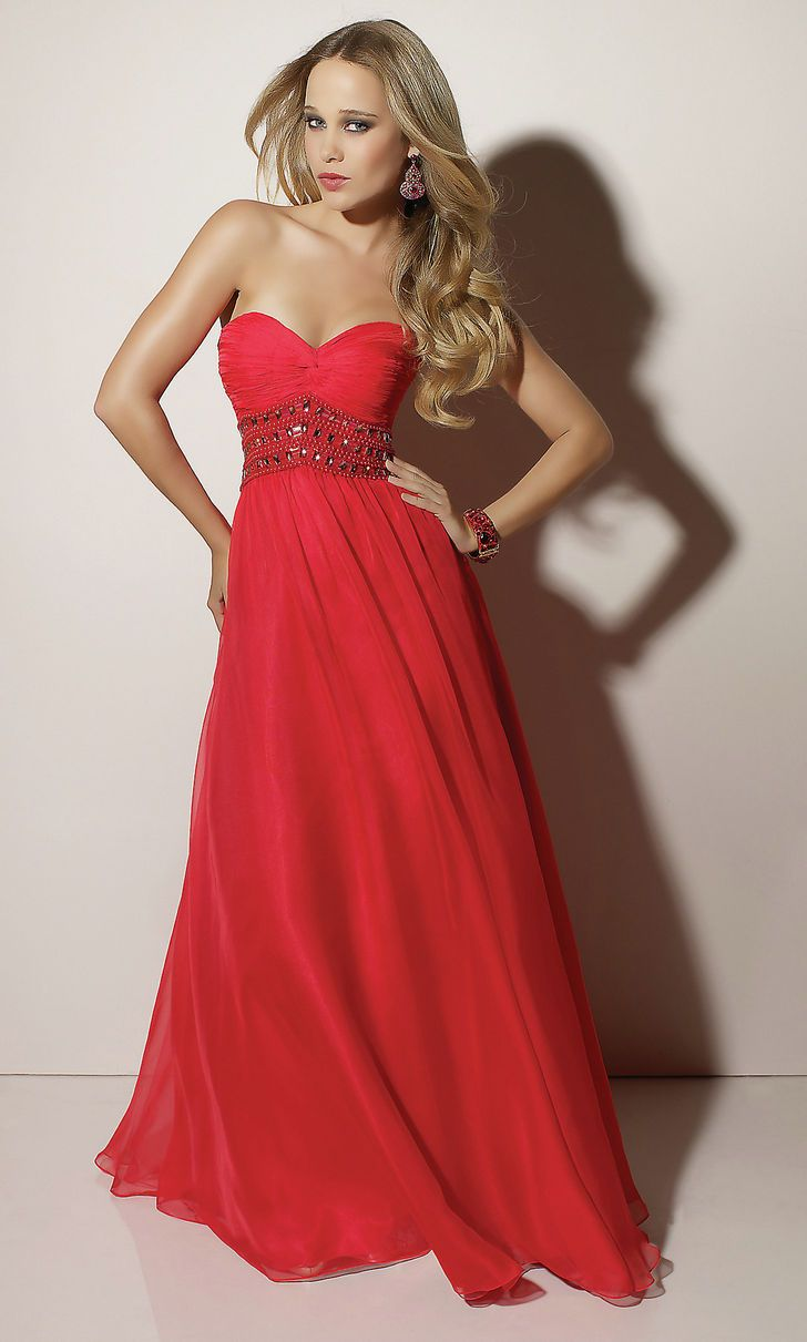 Long red elegant evening dress