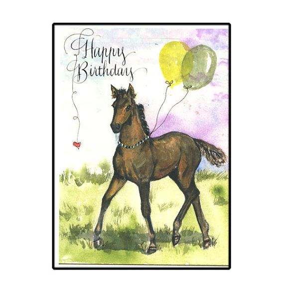 Horse birthday card in watercolor with balloons and calligraphy watercolor horse birthday card with balloons and by hilinkart bookmarktalkfo Images