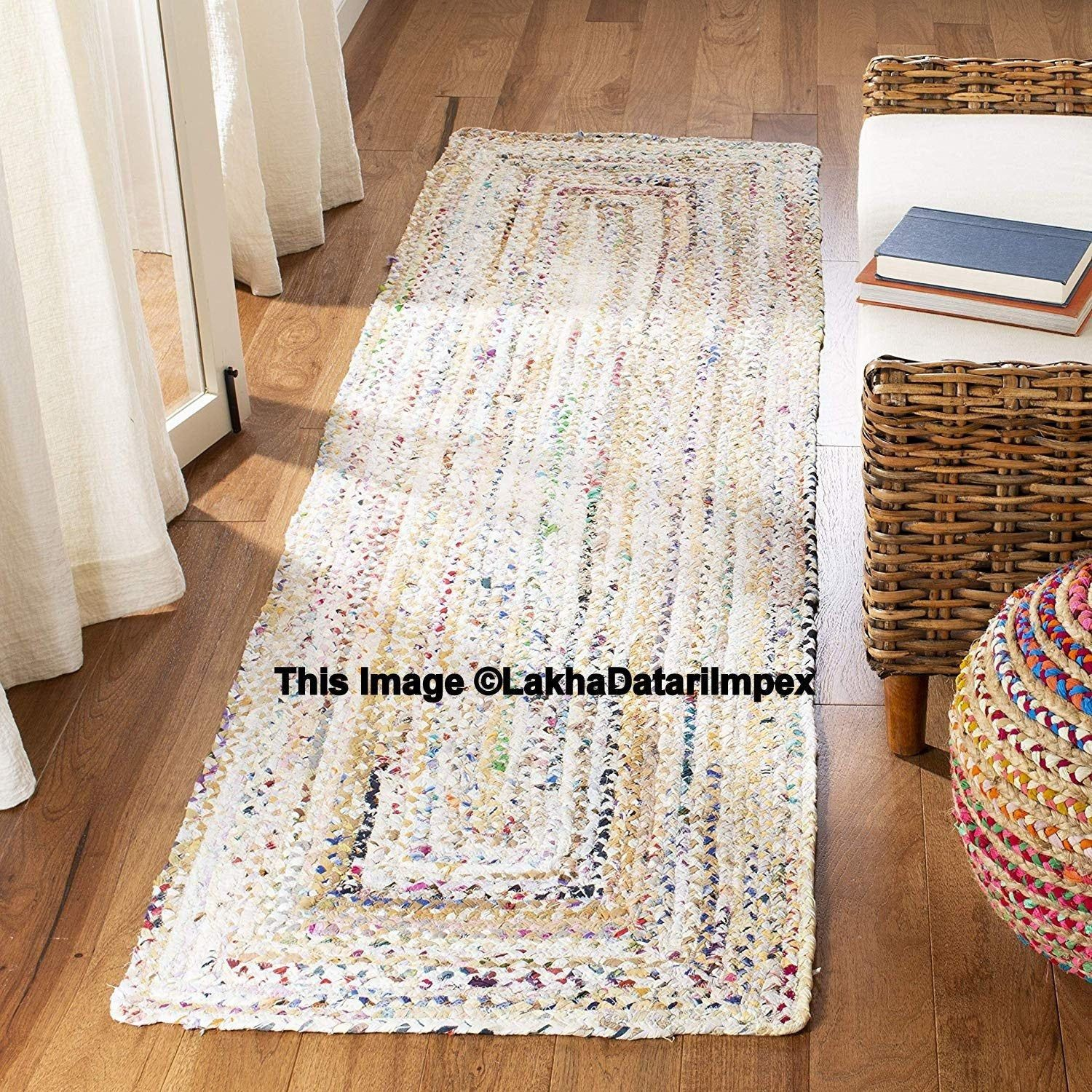 Hand Braided Bohemian Colorful Cotton Jute Chindi Area Rug Bedside
