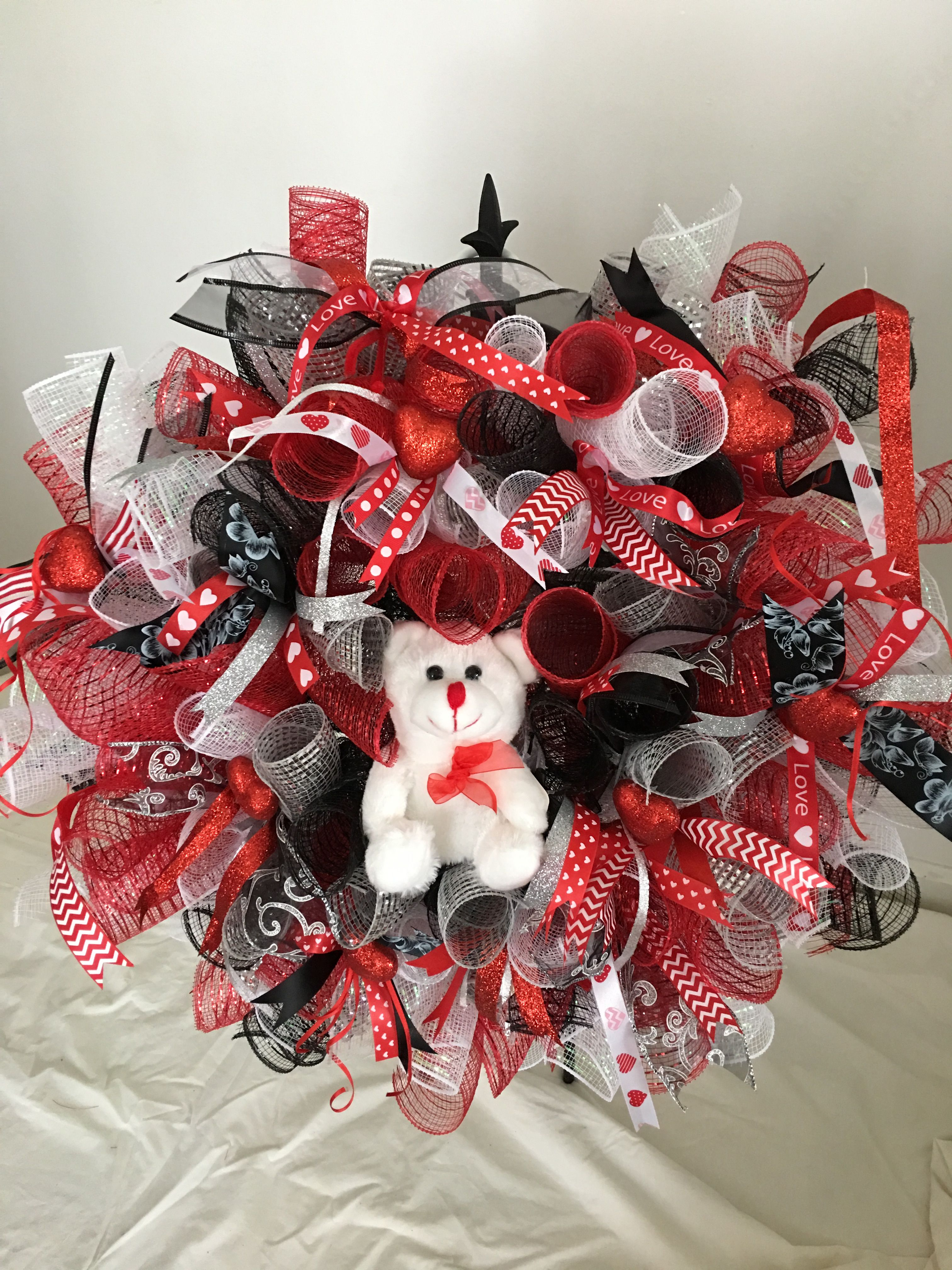 Red Black And White Deco Mesh Wreath For Valentine S Day Accented