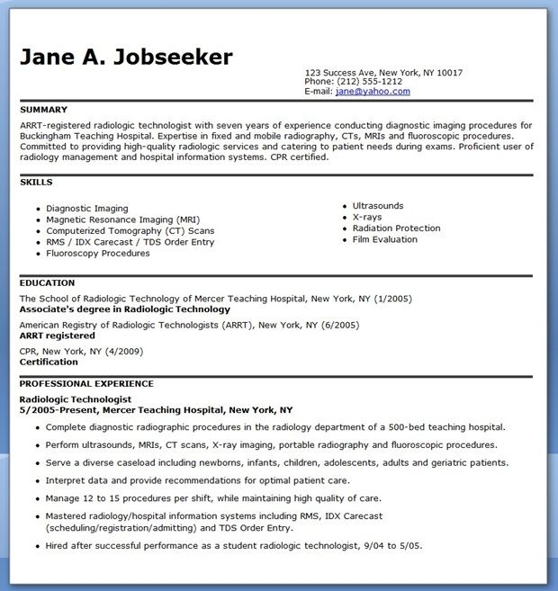 sample resume for radiographer - Sample Resume For Radiologic Technologist