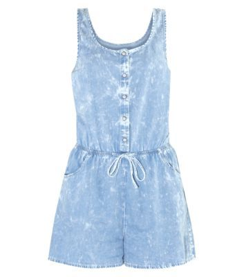 Blue Acid Wash Button Front Drawstring Denim Playsuit