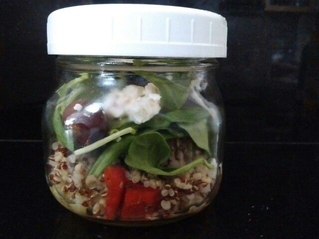 Quinoa Greek salad with spinach!