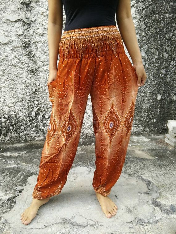 4c3356e3c Peacocks Print Yoga Pants Hippie Boho fabric Design Clothing Gypsy ...