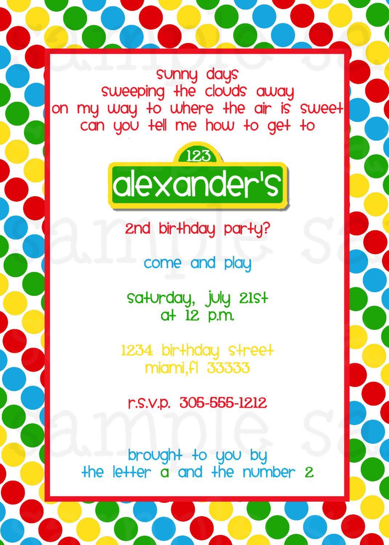 Sesame Street Birthday Invitation   Elmo and Friends Birthday ...